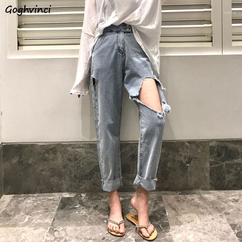 Kot Kadın Harem Pantolon Yırtık Vintage Delik Yıkanmış Womens Bf Streetwear Kürk-line Tüm Maç Öğrencileri Rahat Moda Chic1
