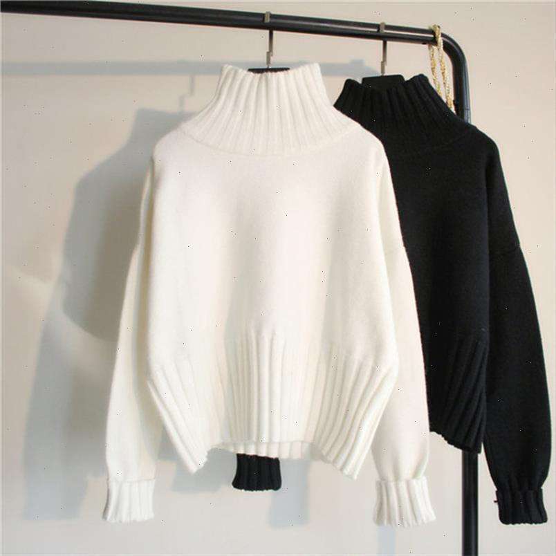 Fashion Design Turtleneck Sweater Women Jumper 2021 Winter Loose Long Sleeve Knitted Pullover Sweater Female Black White
