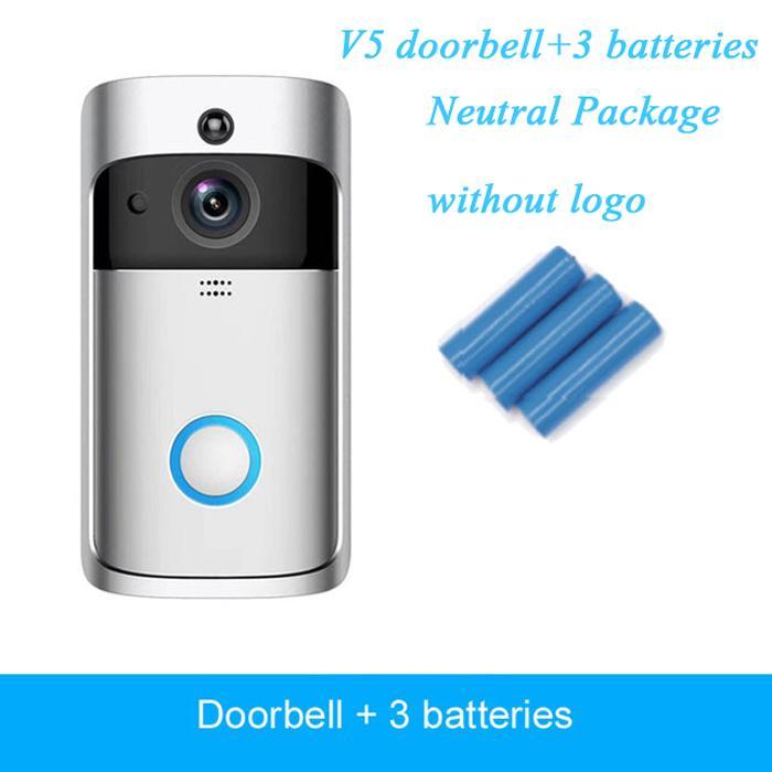 Wireless V5 Boorbells Home Video 720P HD WIFI الاستخبارات في اتجاهين للرؤية الليلية الصوتي مع التطبيق التحكم عن بعد الحزمة المحايدة