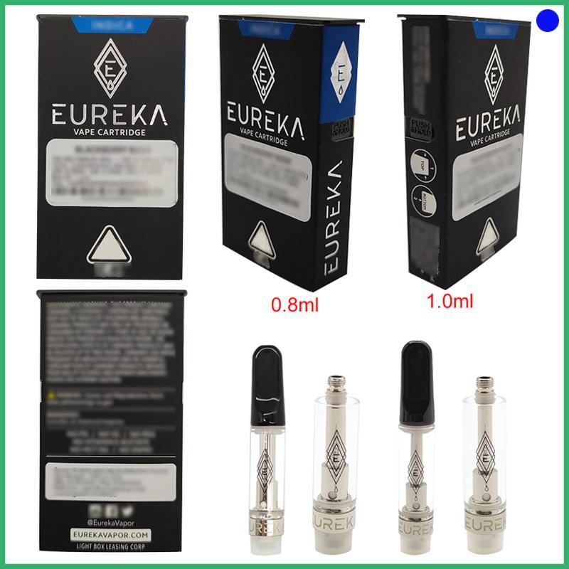 Vape Eureka carrinho cerâmico Bobina vaporizador 0,8 1,0ml de vidro tanque de cerâmica Bobina CO2 Grosso Oil vape e-Cigs Atomizador 2.020 novas embalagens