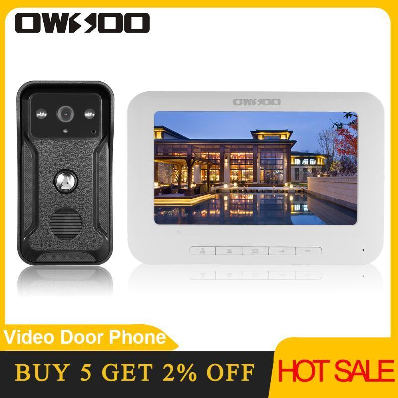 OWSOO 7 Zoll Wired Video-Türsprechanlage Intercom-System mit IR-CUT Regenschutz Außen Wired Türklingel-Kamera, Unterstützung Fernentriegelung