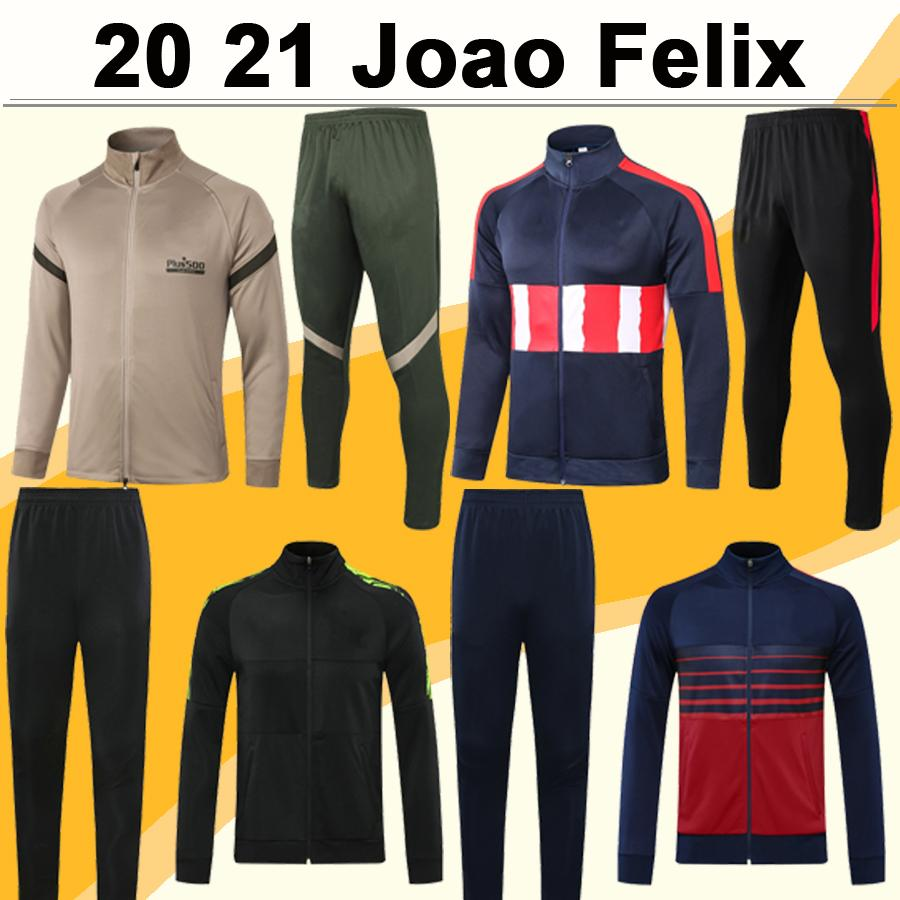20 21 JOAO FELIX SUAREZ Full zip Jacket Mens Soccer Shirts Suit KOKE DIEGO COSTA H. HERRERA M. LLORENTE MORATA Gray Set Football Jerseys
