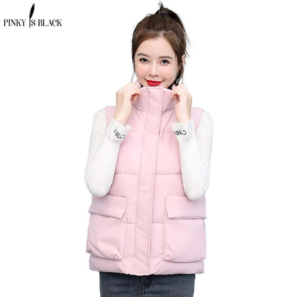 PinkyIsBlack femmes hiver 2020 Printemps Automne Waistcoat Femme Casual Col Stand chaud Taille Plus 6XL Femmes Gilet de manteau de