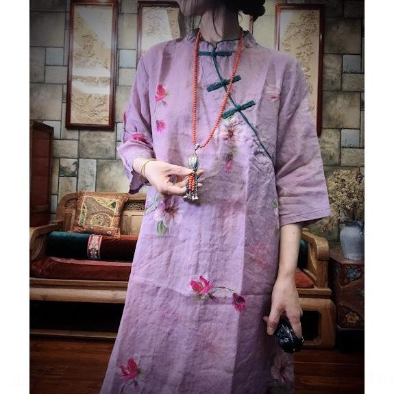 phrmu 2020 Luogu 1652 чисто Рами платье платье цифровая печать китайский Cheongsam улучшилось Cheongsam глины Magnolia DHKeo