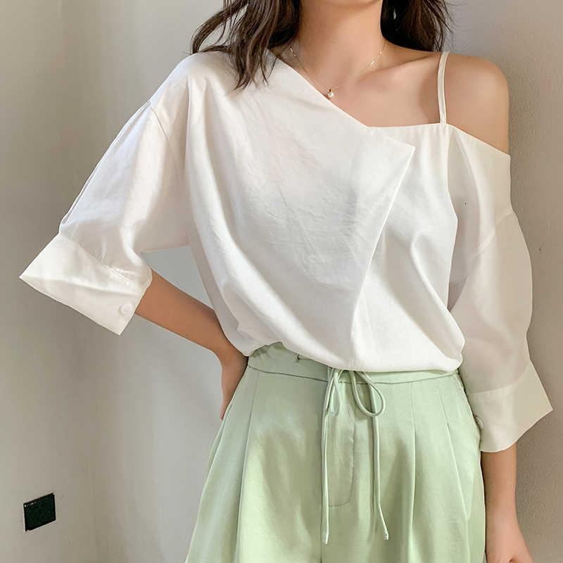 Fashion White Short Sleeved Shirt Summer 2020 New loose-fitting Korean Style Casual One Shoulder Tshirts Top Femme