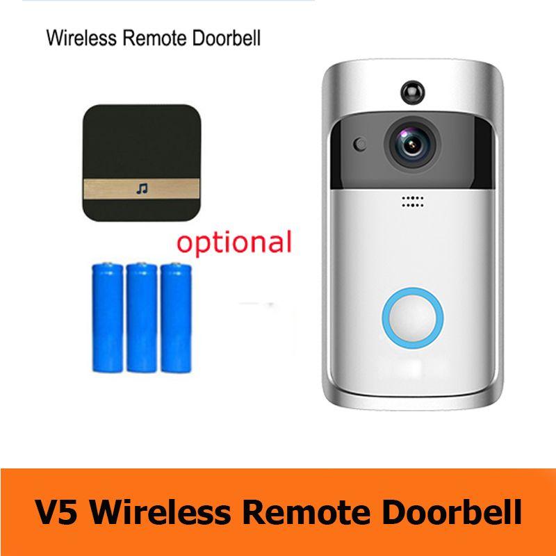 2020 Yeni Akıllı Ev V5 Kablosuz Kamera Video Kapı Zili 720 P HD WIFI Yüzük Kapı Zili Ev Güvenlik Akıllı Telefon Uzaktan İzleme Alarm Kapı Senso
