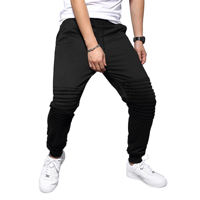Casual Trend solido di vendita di colore nera a pieghe Sport pantaloni caldi di modo degli uomini Pantaloni Pantaloni sportivi Pantaloni autunno dei nuovi uomini di
