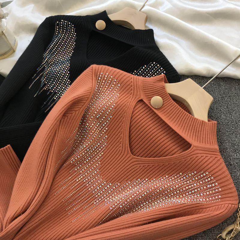 Водолазку основывая рубашки для женщин 2020 Осень Зима Новый тонкий All-Matching Hot Drilling Hollow утолщенной Вязание Вверх