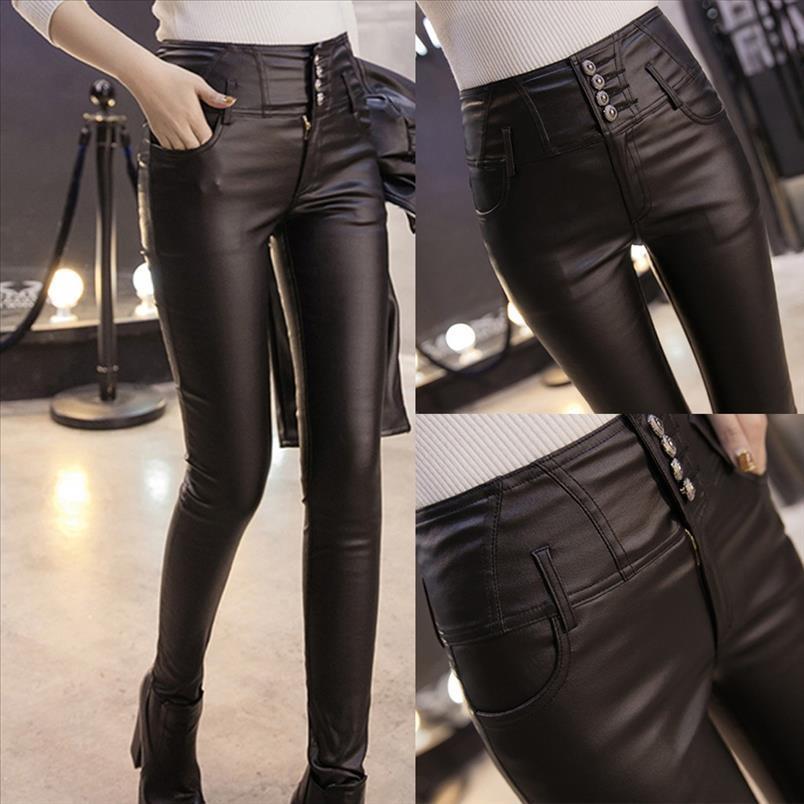 38 Femmes Solid Casual Gardez Pantalons chauds Sexy Cuir Leggings Sport Femmes Fitness High Tumm Tummy Control Pantalons JEGGINGS
