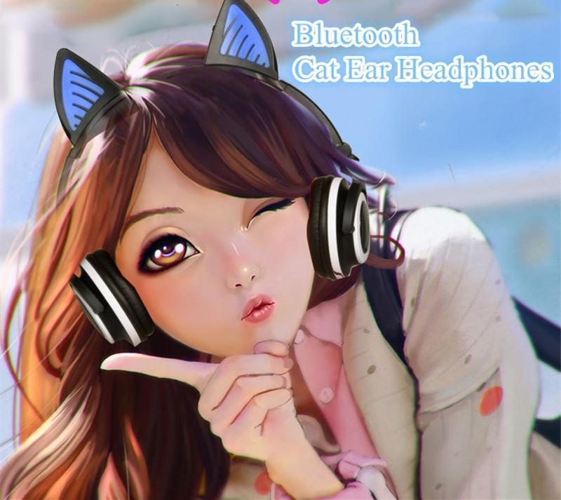 Bluetooth-Katze-Ohr Drahtlose Kopfhörer Fancy glühendes Cosplay Kitty Kopfhörer Folding Katze Bär Ohr-Headset mit Mikrofon für PC, Smartphone