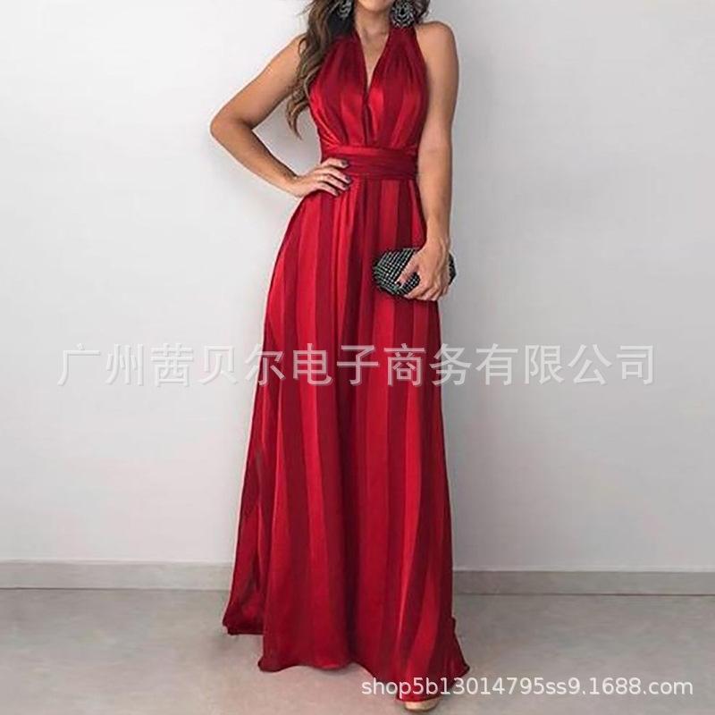 ILDUB 2020 новый полосатый V-образным вырезом COSET 2020 новое платье платье платье для платья корсет с V-образным вырезом