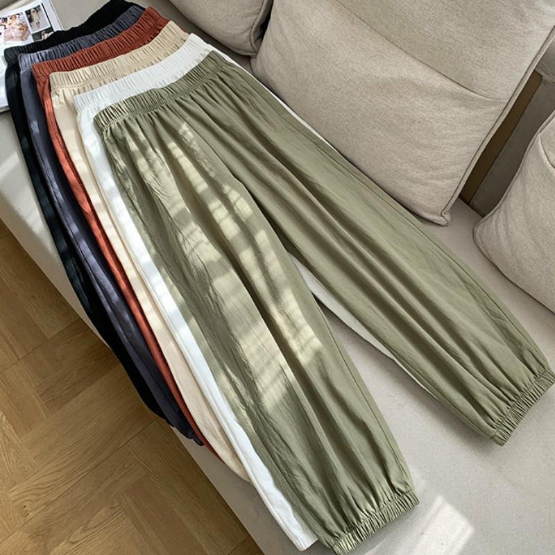 Casual estilo algodón pantalones de lino mujer primavera verano nuevo cintura elástica sólido básico retro suelto mujer harem pantalones pantalones 201103