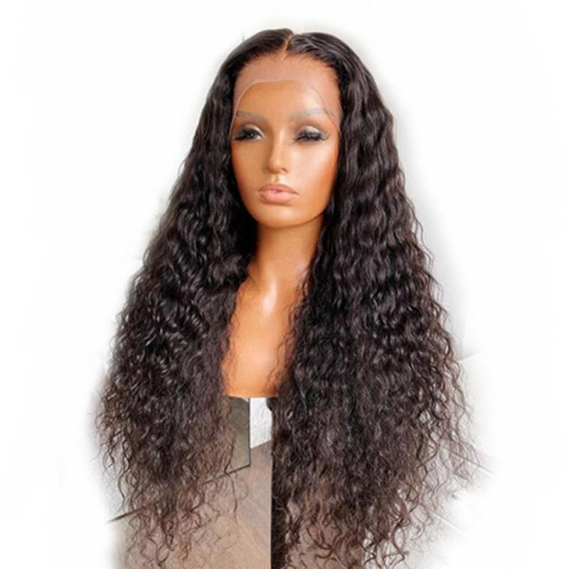 Peluca delantera del cordón del frente de la onda de agua 5x5 base de seda peluca de pelo humano 180 Densidad 13x6x1 brasileña T Parte cordón para las mujeres Negro