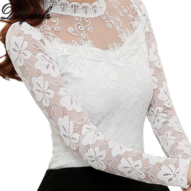 Женщины Sexy выдалбливают шифон кружева блузки с длинным рукавом Стенд Воротник цветочные кружева рубашка Tops Casual Женская одежда Blusas Y200930