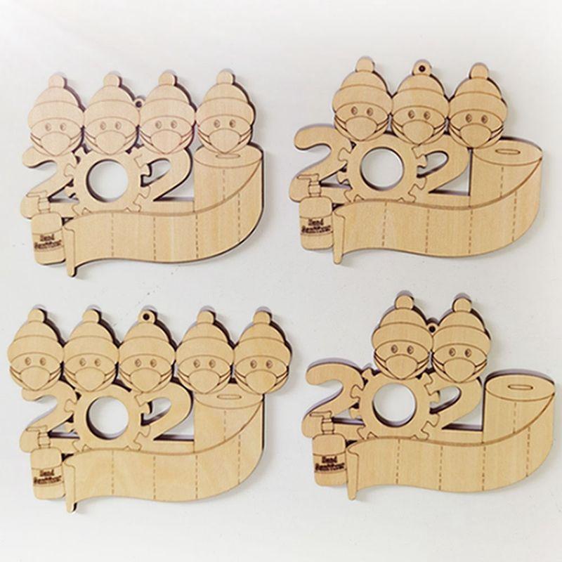 Ornamento Quarentena de madeira com marcador 2020 enfeites de Natal pendurado pingente DIY Nome Blessing Pendant bonecos de neve Família do transporte marítimo IIA698
