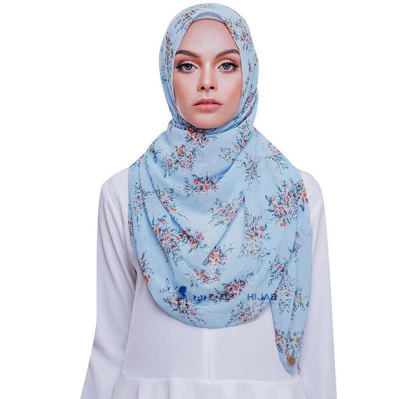 Nuovo chiffon stampato donne sciarpa di protezione solare scialle Malesia Hijab Piccoli all'ingrosso floreali Sciarpe 40 colori
