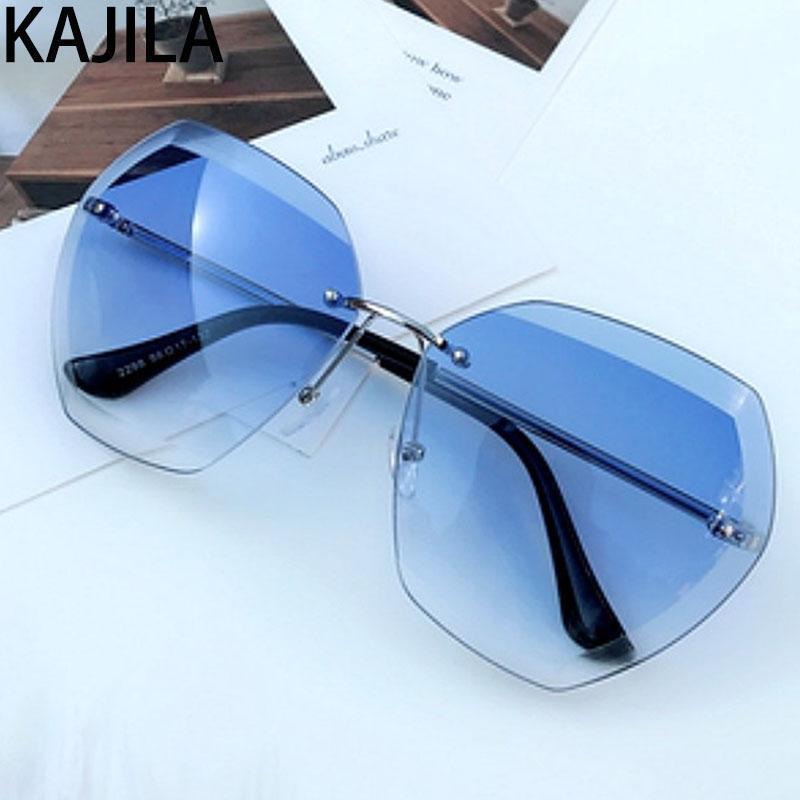 Dames Çerçevesiz Boy Güneş Gözlüğü Kadınlar Zonnebril Tonları Çerçeve Metal Gözlük Kare Tasarımcı Kadınlar Vintage Marka Sun Lehjw için Güneş Bayanlar