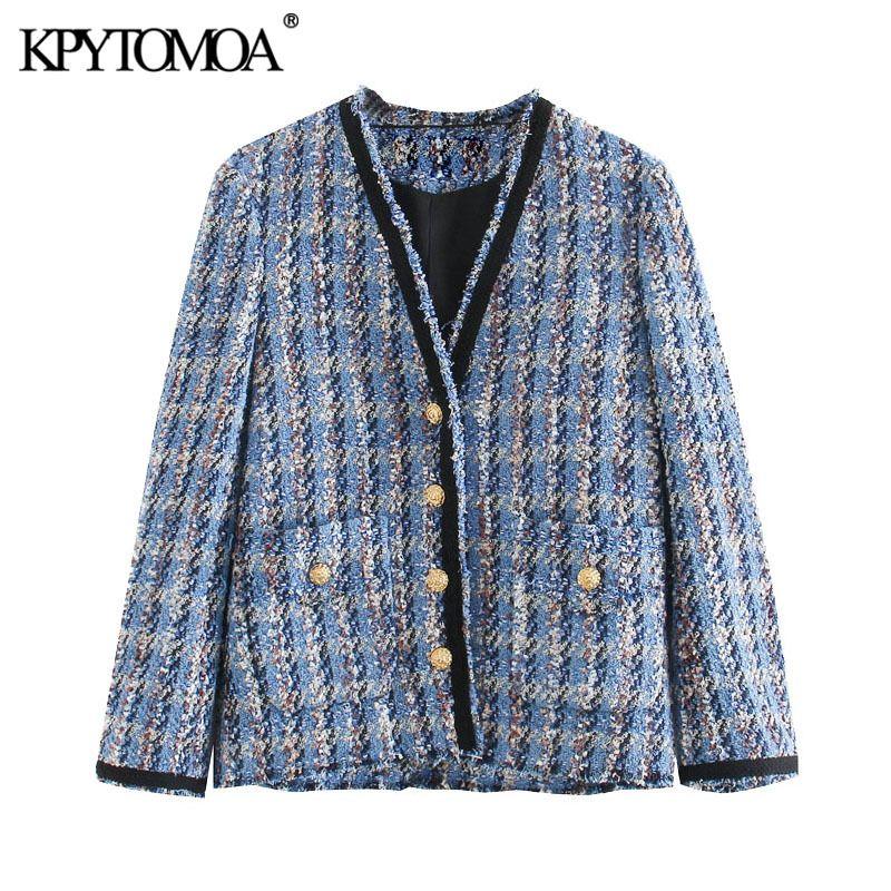 KPYTOMOA Women Fashion Pockets Frayed Trims Tweed Jacket Coat Vintage V Neck Long Sleeve Female Outerwear Chic Tops 201017