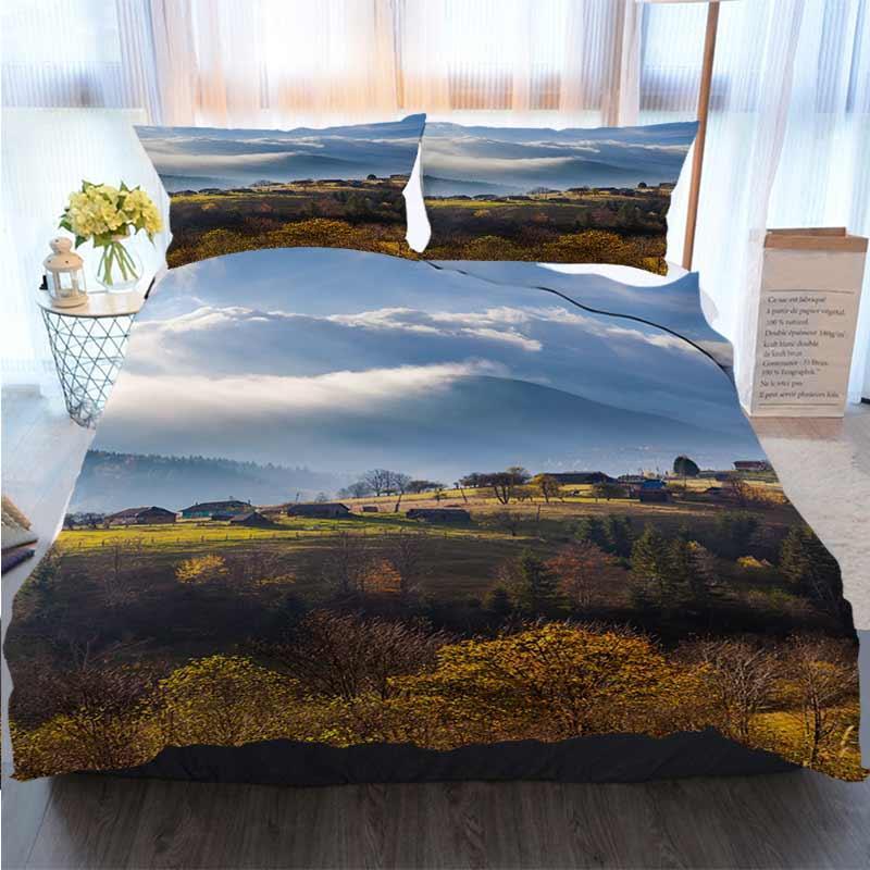 3D-Designer Bettwäsche-Sets Nebel über die Bergwälder Quilt Bettwäsche Tröster Bettwäsche-Sets