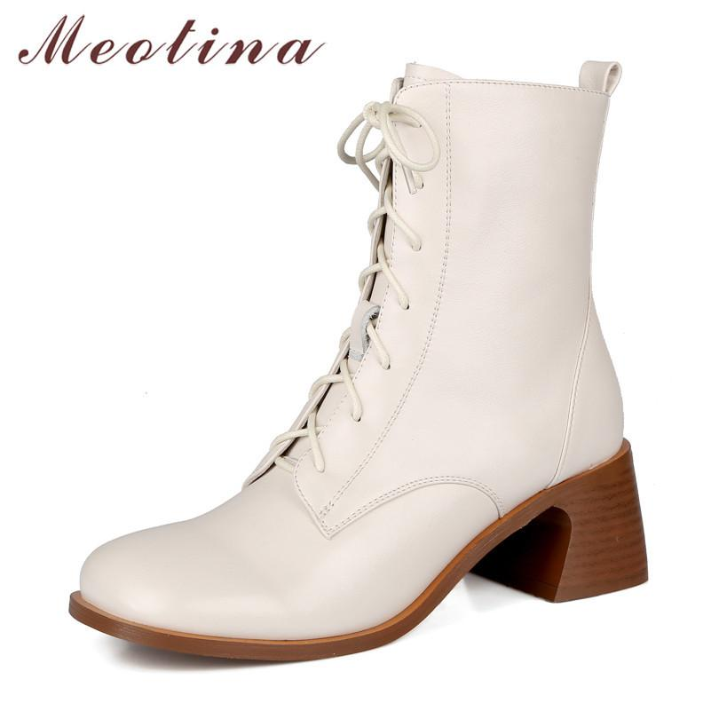 Meotina Genuine Leather High Heel Short Women Shoes Square Toe Zipper Lace Up Block Heels Ankle Boots Autumn Brown