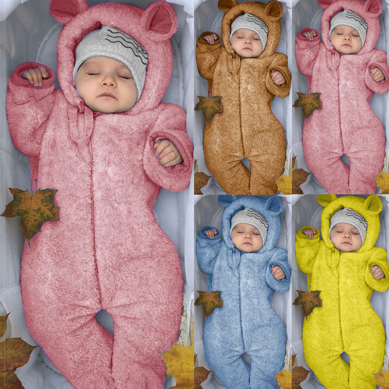 Niño recién nacido de la muchacha del invierno polar con capucha Mono sólido Romper la capa Outwear niños del bebé ropa de bebé mono del 1021 Cálido