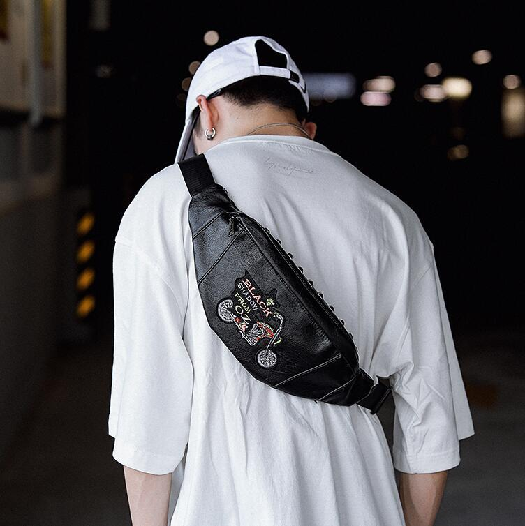 wholesale men handbag new embroidery fashion shoulder bag street trend rivet purse outdoor leisure multifunctional rivet men chest bag