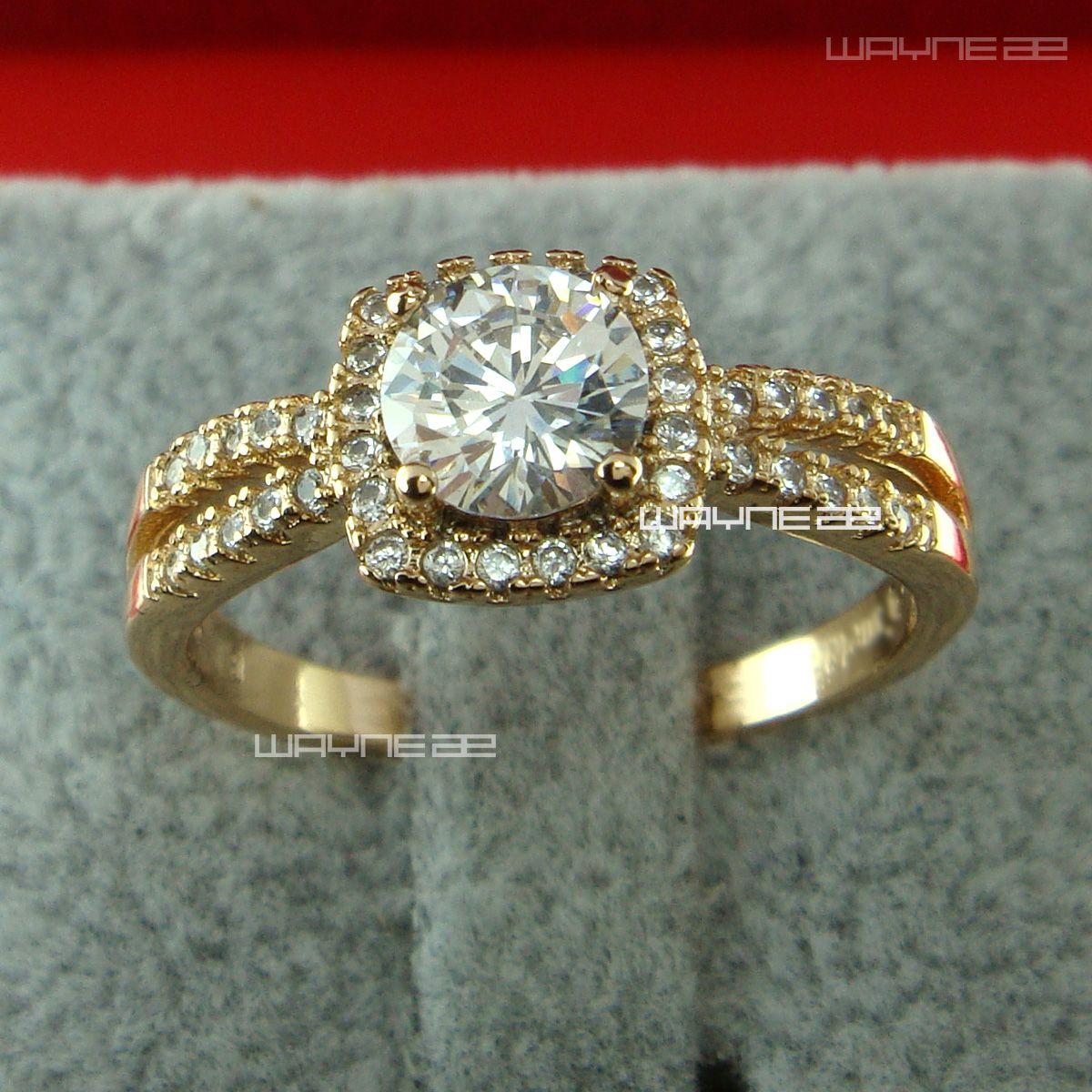 Damen elegant 18k Gold füllte CZ-Kristall-Verpflichtungs-Ehering R185 Size6-8