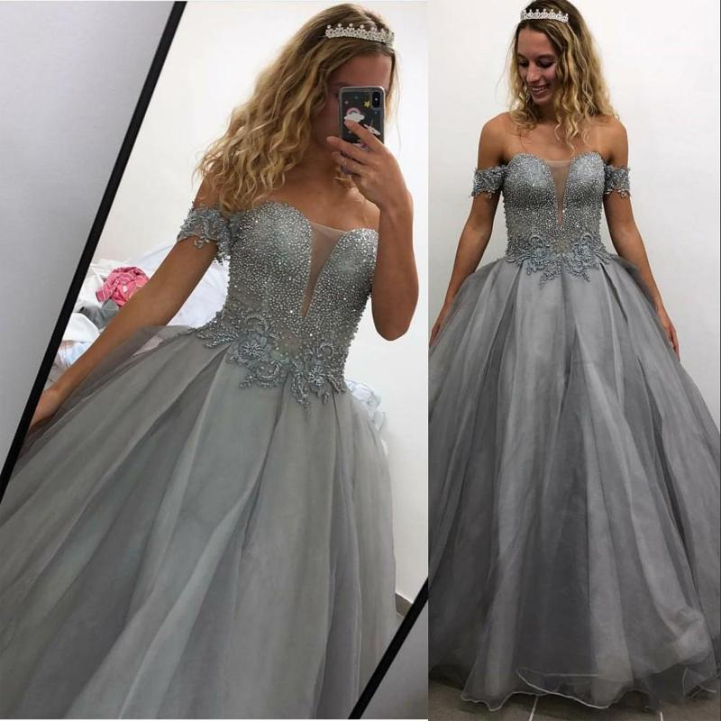 Sexy Encolure gris Quinceanera robe de bal Illusion dentelle cristal perles Tulle partie du bonbon 16 formelle robe de bal Robes de soirée