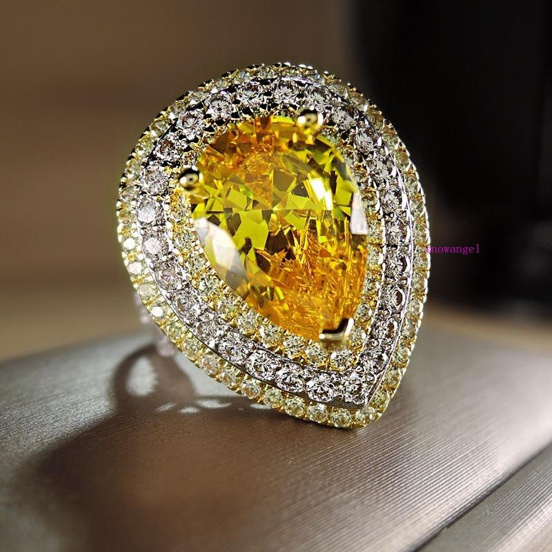 Europe and America's new diamond-encrusted drop-shaped zircon closely inlaid with diamond electric separation ring