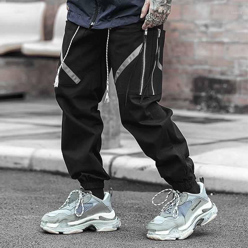 New Harajuku Хлопковые мульти-карманы Safari стиль моды грузовые брюки мужчин осень весна хип-хоп уличная одежда повседневная упругие брюки1