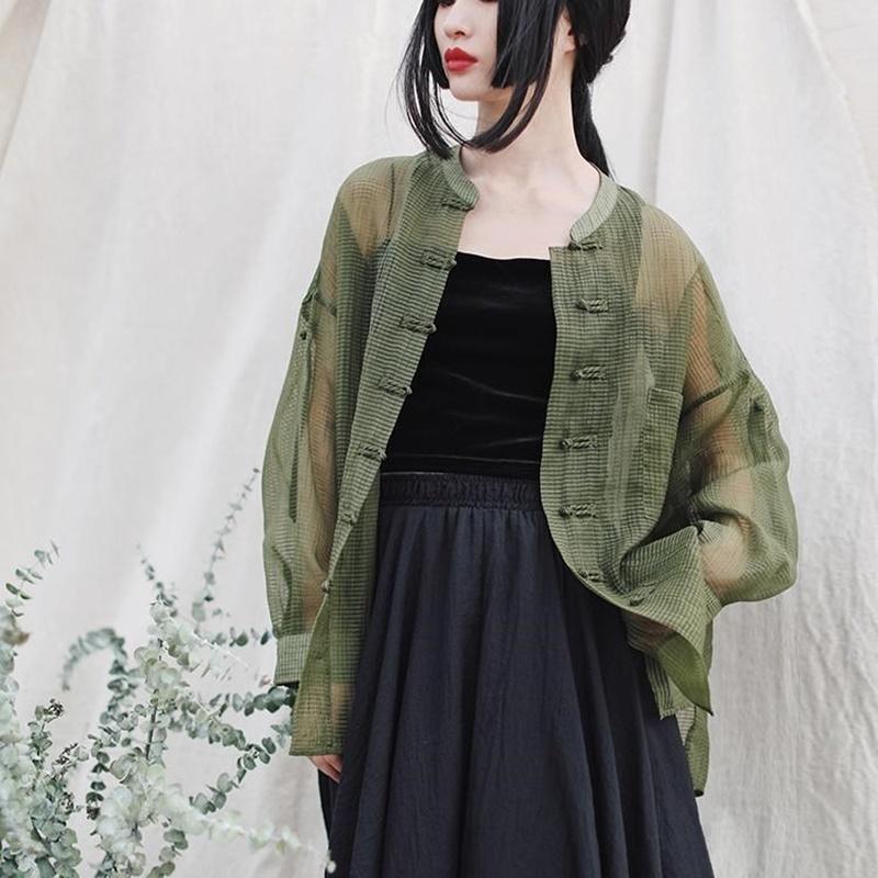 Chinos estilo de vestir blusas de las mujeres 2020 de moda de manga larga Cardigan juego de la espiga del collar del mandarín camisas Hanfu Thin chinas 11513