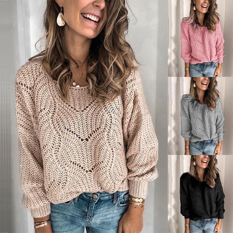 Suéteres para mujer señoras tripulantes del cuello de la tripulación suéter de punto corto jersey ladia suéter o-cuello estilo casual moda estilo