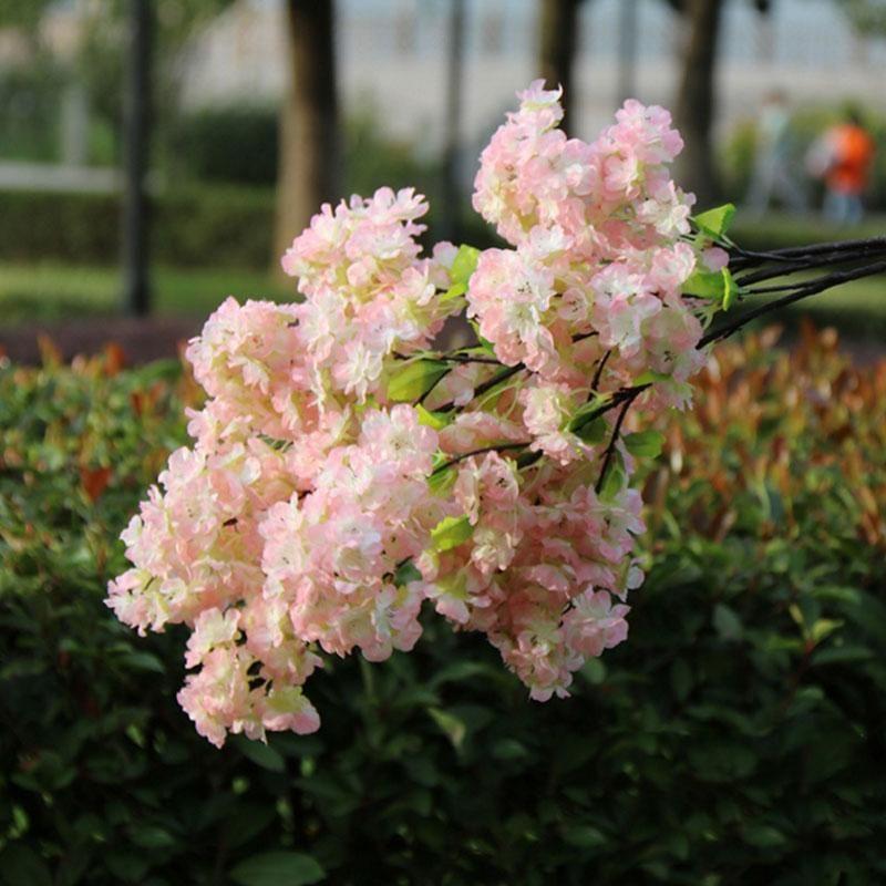 Fleurs décoratives Couronnes Partie de mariage Décoration Artificielle Plastique Fake Fake Silk Cherry Blossom Branches pour la maison