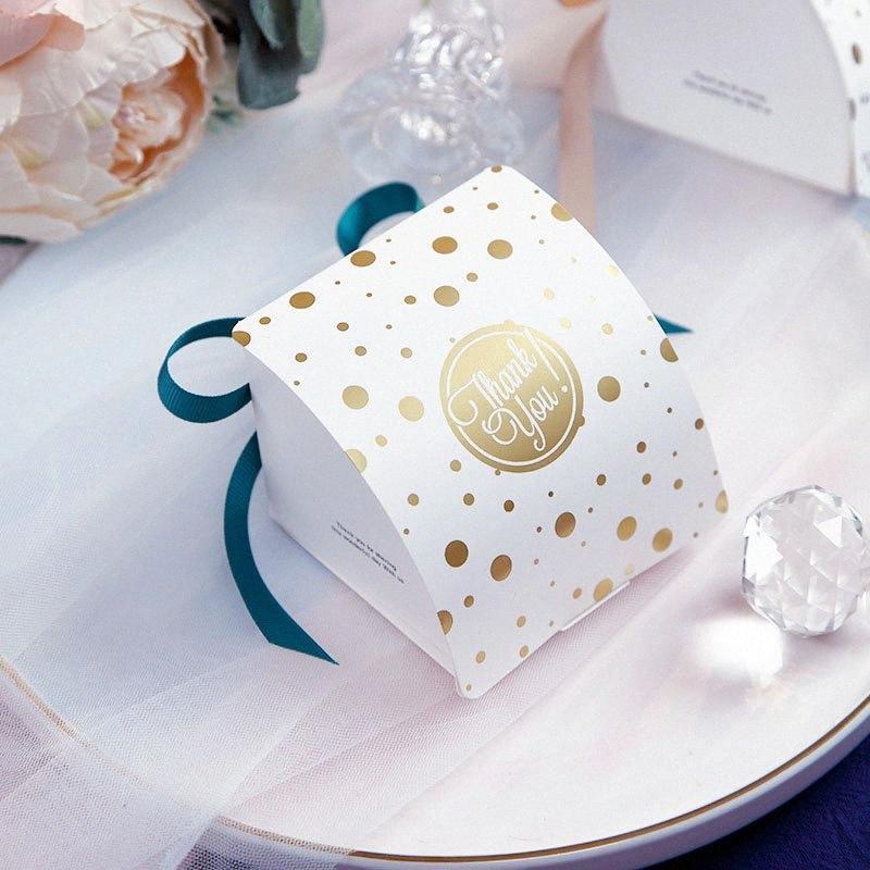 Новые поступления Круглый Dots золотой фольги бумаги коробки конфет кекс Box Baby Shower Gift Box День рождения Свадьба Фавор Элегантный Обертывание Pap SNOz #