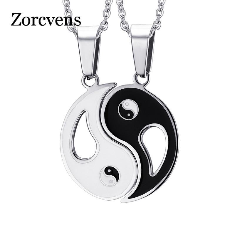 ZORCVENS pendente do encanto colares Oito Diagramas Yin Yang preto e branco dos melhores amigos amizade Casais presente do Valentim do amante