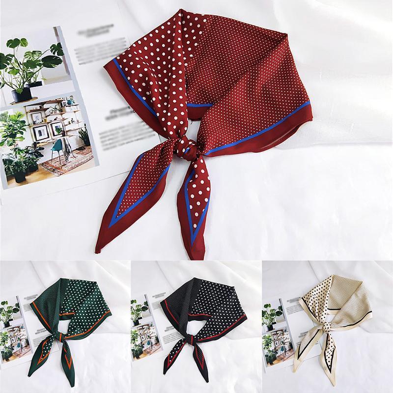 Polka Dot soletrar Cor pequeno lenço de seda Mulheres Rhombus Cabeça Lenços longo e estreito DIY Handle Bag Fitas magro Cabelo écharpe