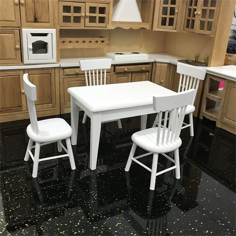 1:12 Dollhouse Minyatür Mobilya Ahşap Yemek Masası Sandalye Modeli Set Mutfak Bebek Evi Dekorasyon Çocuk Oyuncak Minyatür C604 Y200428
