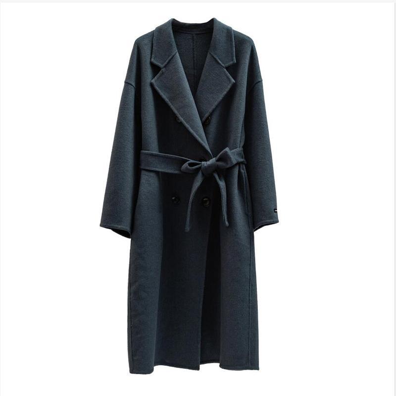 Autumn Winter wool coat Single breasted Maxi coat 201016