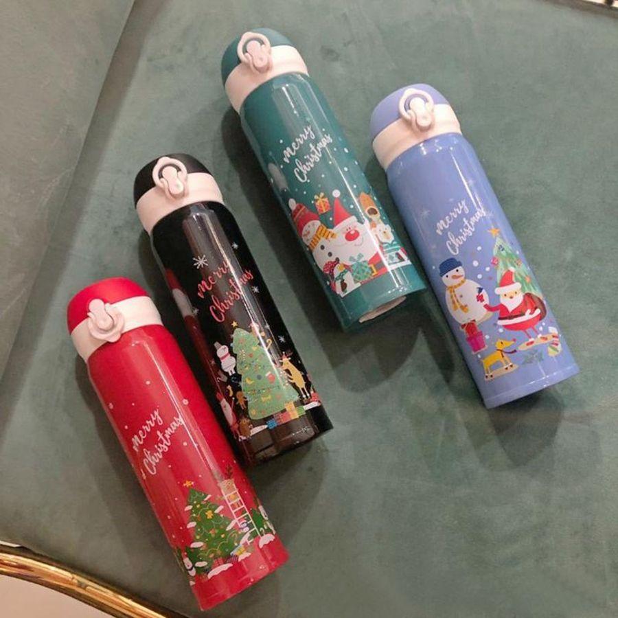 Noël Cartoon Imprimer 17 oz Bouteille d'eau à double paroi Isoler Thermos Père Noël Bonhomme de neige Boire vide DDA646 Flasques