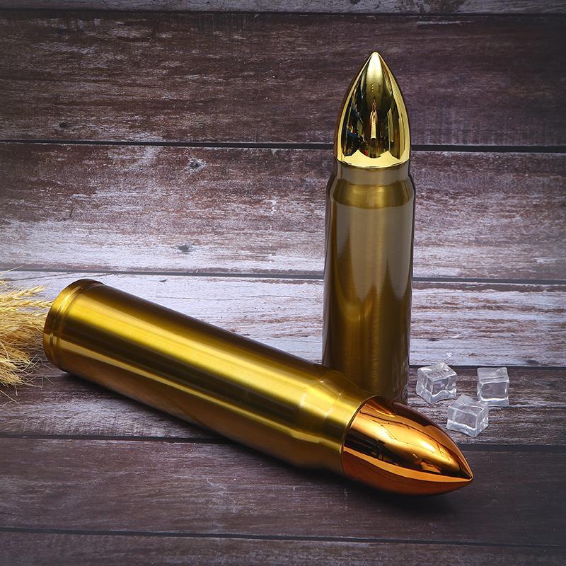 Творческая золотая пуля форма термос водяной бутылки личности нержавеющая сталь термос бутылка вакуумная колба открытый спортивный термос LJ201218