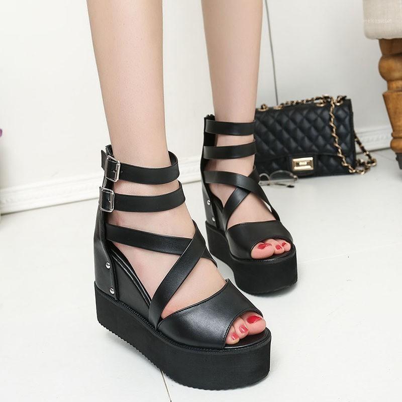Sandales d'été Chimizhai Femmes Chaussures Chaussures Chaussures Plateforme Hauteur Augmentation Femme Sandales Rome Gladiateur WY4981