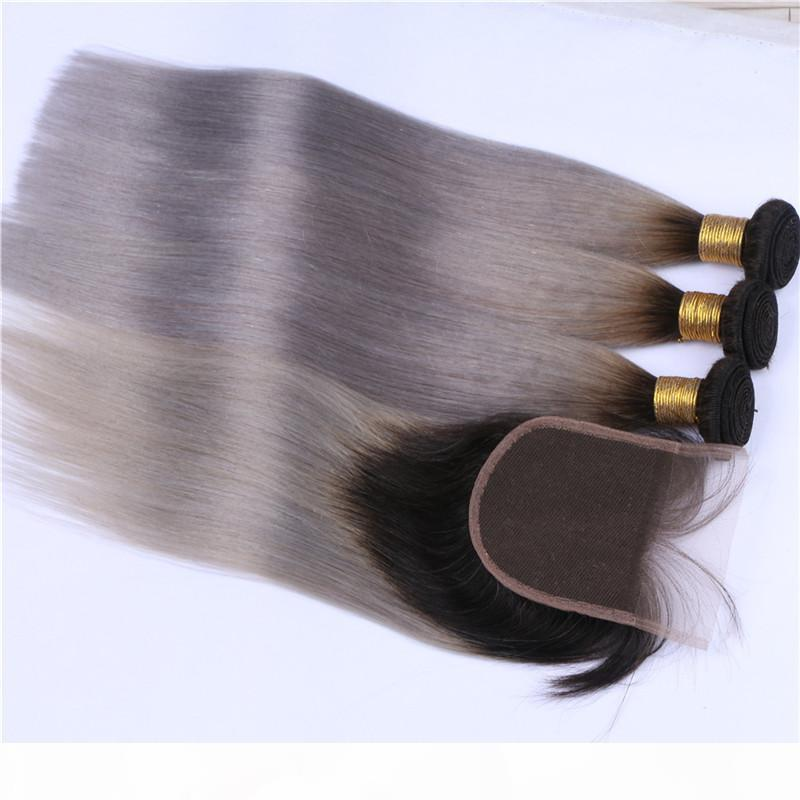 Черный серебристый серый ombre 4x4 кружева кружева с 3 пучками шелковистые прямые # 1b серые омревые перуанские волосы расширения волос с закрытием 4шт