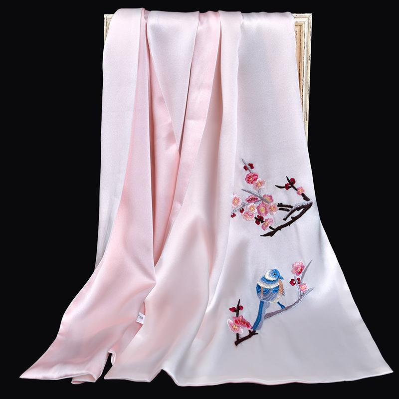 Doble real pañuelo de seda para las mujeres sólidas 100% seda Chales Wrap lujo bordadas a mano bufandas largas puro para las señoras del partido