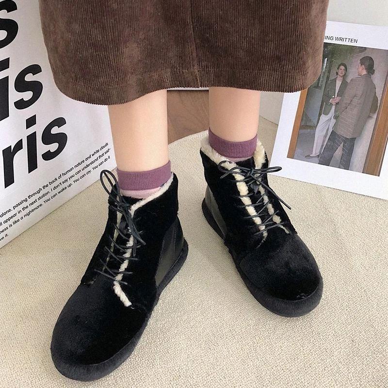 Bottines plats chauds de peluches rimocy pour femmes mode patchwork PU en cuir de coton chaussures femme confortable bottes de neige hiver mujer # ey59