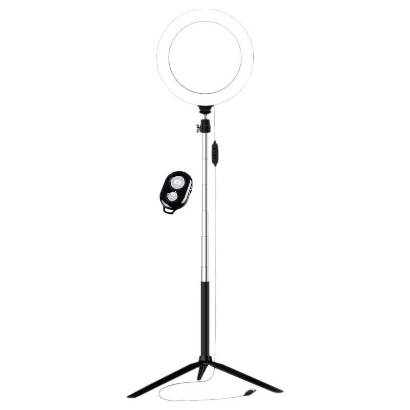 Luz de anel de fotografia com obturador Bluetooth LED Lâmpada de anel de maquiagem com tripé USB Plug for Live Stream YouTube Video