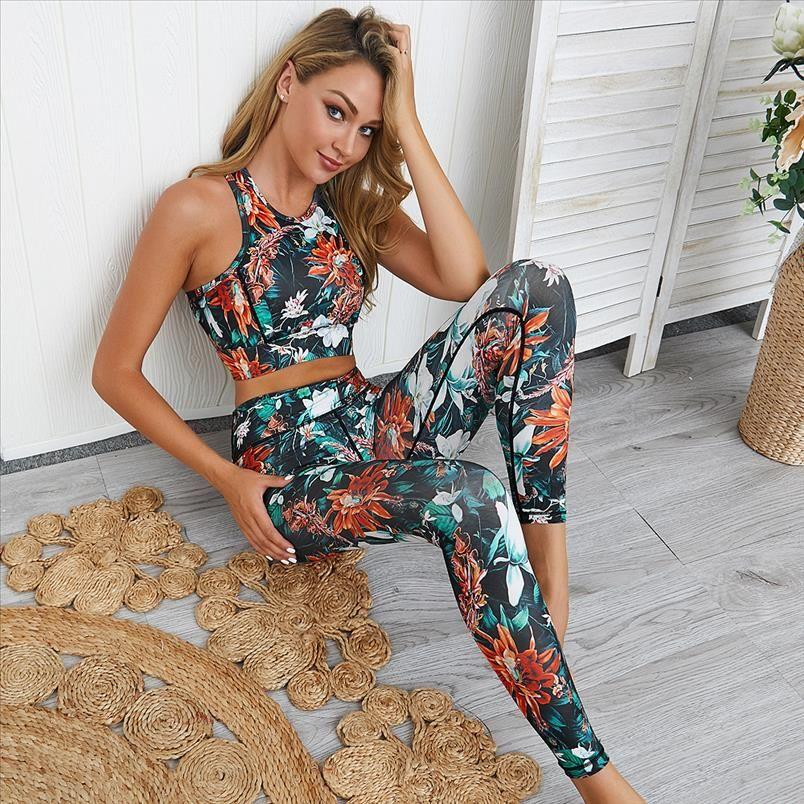2021 New Style 2 Piece Bra Pants Womens Tracksuit Sportswear Sports Suit Yoga Set Gym Suit Clothes For Sport Customs