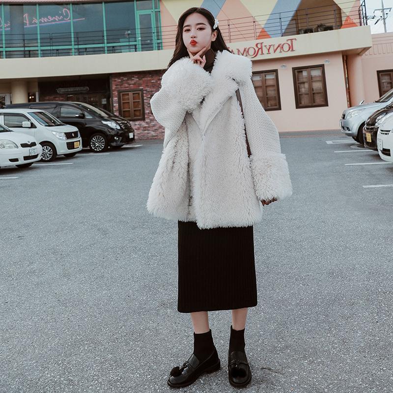 Женский меховой FUX 2021 зимнее пальто Женщины Свободные повседневные воротника Верхняя одежда Теплые короткие дамы густые женщины Y1991