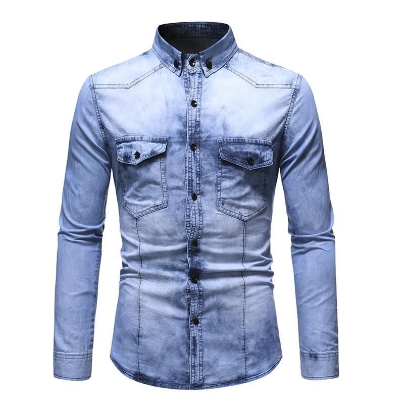DropShipping Negizber 2021 Automne Hiver Jeans Chemises Hommes Slim Fit Eau Souhaite à manches longues Demin Jeans chemise Homme Streetwear