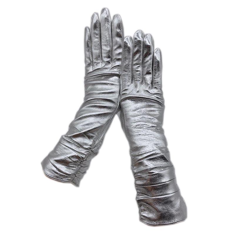 Luvas 2020 novo senhoras prata luvas de couro de carneiro meados de comprimento moda inverno calor bela transporte livre de condução de couro