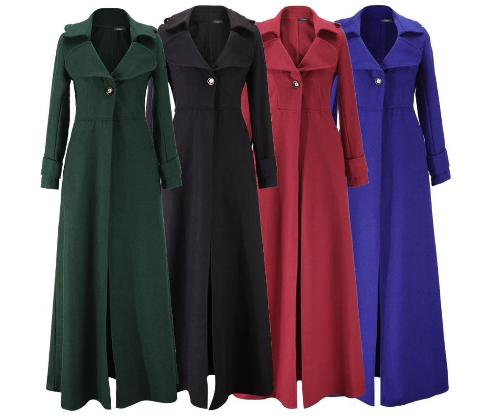 Sleeve Extra Long Imitated Woolen Coat Fashion One Button Turn Down Collar Winter Coats Woman Jacket